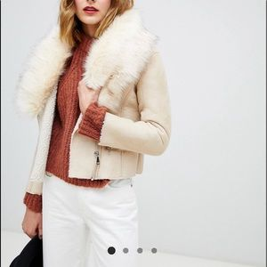 Barneys leather jacket fur collar